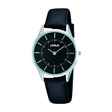 Buy Lorus RTA35AX9 Women's Ultra Slim Leather Strap Watch, Black Online at johnlewis.com
