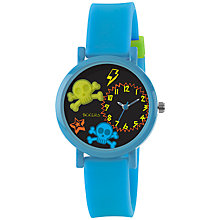 Buy Tikkers TK0070 Children's Skull Watch, Blue / Green Online at johnlewis.com