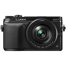 "Buy Panasonic Lumix DMC-GX7 Compact System Camera with 20mm IS Lens, HD 1080p, 16MP, EVF, Wi-Fi, NFC, 3"" LCD with 16GB + 8GB Memory Card Online at johnlewis.com"