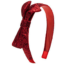 Buy John Lewis Girl Lurex Bow Alice Band, Red Online at johnlewis.com