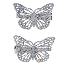 Buy John Lewis Girl Mini Butterfly Clips, Pack of 2, Silver Online at johnlewis.com