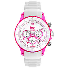 Buy Ice-Watch CCH.WPK.U.S.13 Chrono Women's Chronograph Silicone Strap Watch, White/Pink Online at johnlewis.com