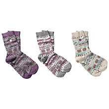 Buy Fat Face Fairisle Lurex Ankle Socks, Pack of 3, Multi Online at johnlewis.com