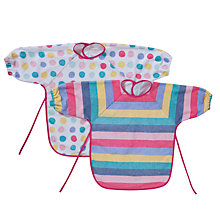 Buy John Lewis Baby Spot & Stripe Terry Bib, Pack of 2, Multi Online at johnlewis.com