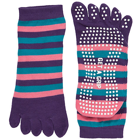 Buy John Lewis Non-Slip Yoga Socks, One Size, Purple/Pink/Turquoise Online at johnlewis.com