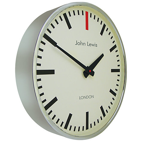 Buy Lascelles Personalised Case Clock, Dia.45cm, Chrome Online at johnlewis.com