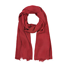 Buy John Lewis Wool Blend Basket Weave Scarf, Red Online at johnlewis.com