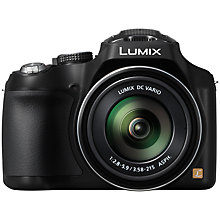 "Buy Panasonic Lumix DMC-FZ72 Bridge Camera, HD 1080p, 16.1MP, 60x Optical Zoom, 3"" LCD Screen, Black with 16GB + 8GB Memory Card Online at johnlewis.com"