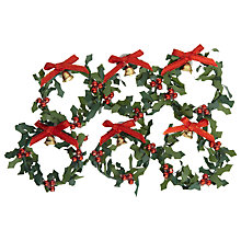 Buy John Lewis Miniature Wreaths with Berries and Bells Paper Toppers, Pack of 5 Online at johnlewis.com