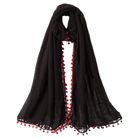 Buy East Pompei Pompom Scarf, Black Online at johnlewis.com
