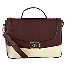 Buy Warehouse Twistlock Satchel, Maroon/Cream Online at johnlewis.com