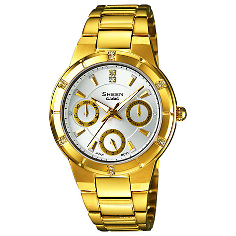 Buy Casio SHE-3800GD-7AEF Women's Sheen Stainless Steel Bracelet Watch, Gold Online at johnlewis.com