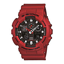 Buy Casio GA-100B-4AER Men's G-Shock Resin Strap Watch, Red Online at johnlewis.com