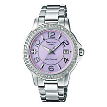 Buy Casio SHN-4019DP-4AEF Women's Sheen Mother of Pearl Bracelet Strap Watch, Purple Online at johnlewis.com