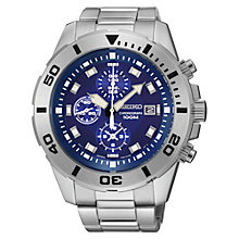 Buy Seiko SNDD97P1 Men's Stainless Steel Chronograph Watch, Silver / Blue Online at johnlewis.com