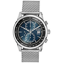 Buy Citizen CA0331-56L Men's Eco-Drive Chronograph Stainless Steel Mesh Strap Watch, Silver / Blue Online at johnlewis.com