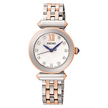 Buy Seiko SRZ400P1 Women's Crystal Set Stainless Steel Bracelet Strap Watch, Rose Gold/Silver Online at johnlewis.com