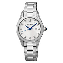 Buy Seiko SXDF67P1 Women's Stainless Steel Bracelet Strap Watch, Silver/White Online at johnlewis.com