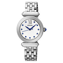 Buy Seiko SRZ399P1 Women's Crystal Set Stainless Steel Bracelet Strap Watch, Silver/White Online at johnlewis.com
