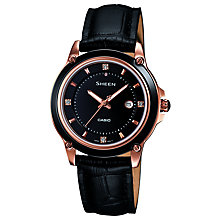 Buy Casio SHE-4507GL-1AER Women's Sheen Leather Strap Watch, Black Online at johnlewis.com