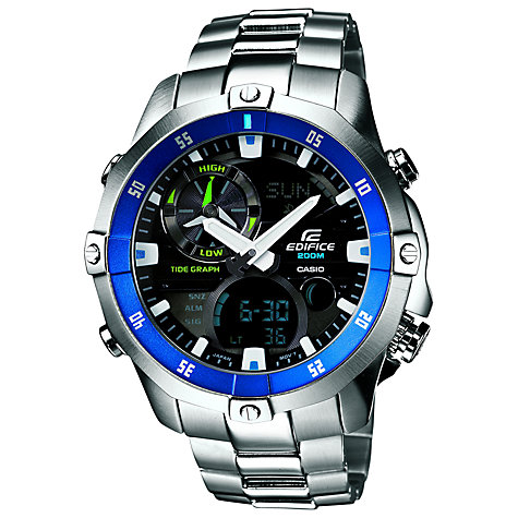 Buy Casio EMA-100D-1A2VEF Men's Edifice Stainless Steel Bracelet Strap Watch, Silver Online at johnlewis.com