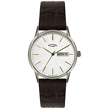 Buy Rotary GS02750/06 Men's Leather Strap Day And Date Watch, Brown / Silver Online at johnlewis.com