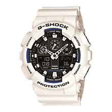 Buy Casio GA-100B-7AER Men's G-Shock Resin Strap Watch, White Online at johnlewis.com