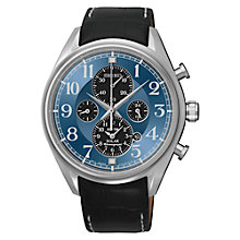 Buy Seiko SSC209P9 Men's Solar Chronograph Alarm Watch, Black / Blue Online at johnlewis.com