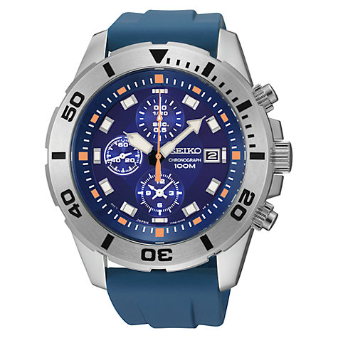 Buy Seiko SNDE03P1 Men's Stainless Steel Chronograph Watch, Blue Online at johnlewis.com