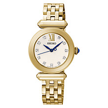 Buy Seiko SRZ402P1 Women's Gold Plated Stainless Steel Bracelet Strap Watch, Gold/White Online at johnlewis.com
