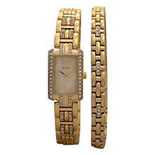 Buy Citzen EG2202-63D Women's Eco-Drive Watch & Bracelet Swarovski Crystal Set, Gold Online at johnlewis.com