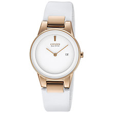 Buy Citizen GA1053-01A Women's Axiom Leather Strap Watch, White Online at johnlewis.com