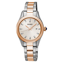 Buy Seiko SXDF68P1 Women's Two Tone Stainless Steel Bracelet Watch, Rose Gold Online at johnlewis.com