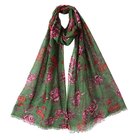 Buy East Emilia Floral Print Scarf, Ivy Online at johnlewis.com
