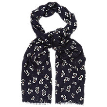 Buy Phase Eight Bow Print Scarf, Navy Online at johnlewis.com