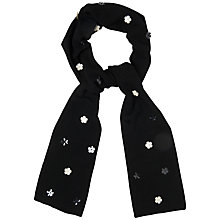 Buy Jaeger Sequin Flower Scarf, Black Online at johnlewis.com