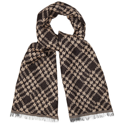 Buy Jaeger Prince of Wales Check Scarf, Camel / Black Online at johnlewis.com