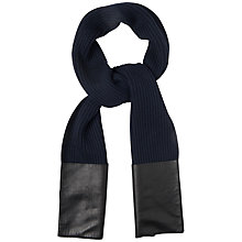 Buy Jaeger London Leather Pocket Scarf, Navy Online at johnlewis.com