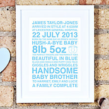 Buy Megan Claire Personalised New Baby Framed Print, 35.5 x 27.5cm Online at johnlewis.com