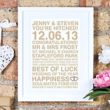 Buy Megan Claire Personalised Wedding Framed Print, 35.5 x 27.5cm Online at johnlewis.com