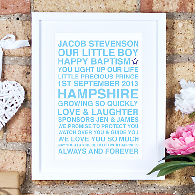 Megan Claire Personalised Christening Framed Print, 35.5 x 27.5cm