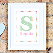 Buy Megan Claire Personalised Child Initial Framed Print, 35.5 x 27.5cm Online at johnlewis.com