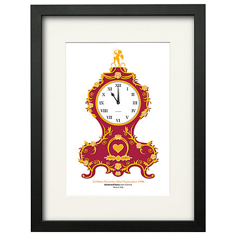 Buy Watermark Creative Personalised Baroque Clock Framed Print, Black Frame, 43 x 33cm Online at johnlewis.com