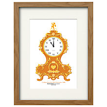 Buy Watermark Creative Personalised Baroque Clock Framed Print, Natural Frame, 43 x 33cm Online at johnlewis.com