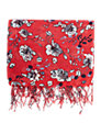 Warehouse Wallpaper Floral Scarf, Raspberry