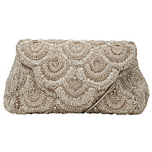 Buy John Lewis Daisy Scallop Beaded Clutch Handbag, Silver Online at johnlewis.com
