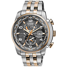 Buy Citizen AT9016-56H Men's World Time Two Tone Stainless Steel Bracelet  Chronograph Watch Online at johnlewis.com