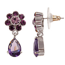 Buy Carolee Flower Glass Crystal Drop Earrings, Berry Online at johnlewis.com