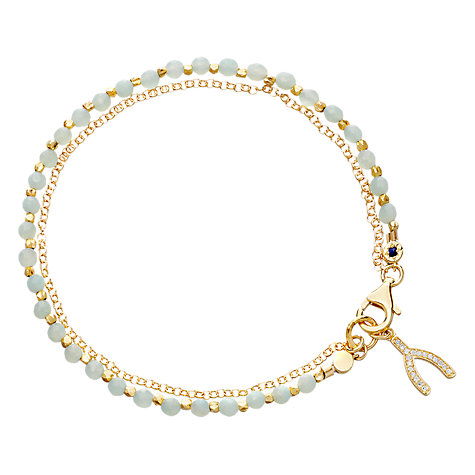 Buy Astley Clarke Biography Wishbone 18ct Gold Vermeil Amazonite Friendship Bracelet Online at johnlewis.com
