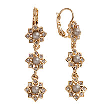Buy Carolee Flower Glass Crystal Faux Pearl Three Part Drop Earrings Online at johnlewis.com